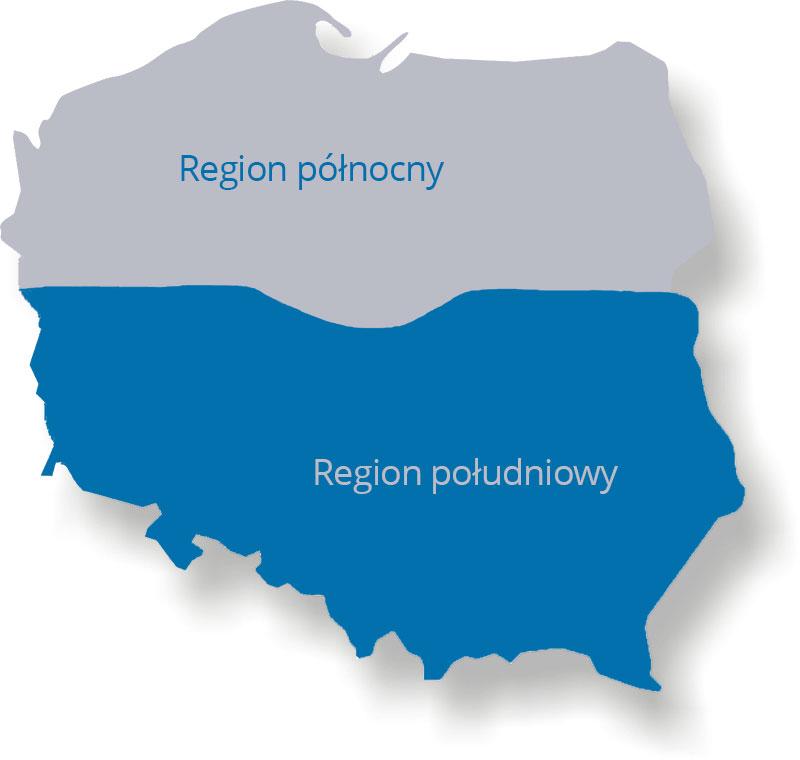 Rejony sprzedaży NTM Polska